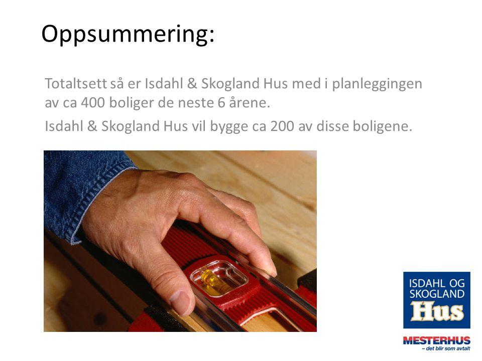 Oppsummering: Totaltsett så er Isdahl & Skogland Hus med i planleggingen av ca 400 boliger de neste 6 årene. Isdahl & Skogland Hus vil bygge ca 200 av