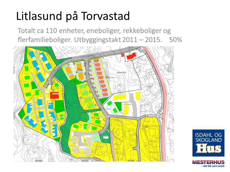 Litlasund på Torvastad Totalt ca 110 enheter, eneboliger, rekkeboliger og flerfamilieboliger. Utbyggingstakt 2011 – 2015. 50%