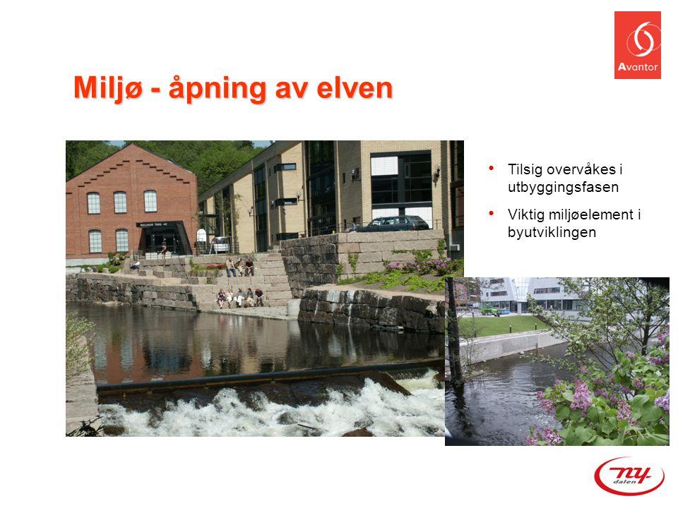 Miljø - åpning av elven • Tilsig overvåkes i utbyggingsfasen • Viktig miljøelement i byutviklingen