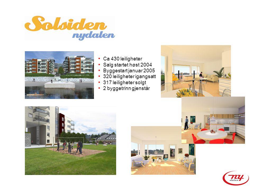 • Ca 430 leiligheter • Salg startet høst 2004 • Byggestart januar 2005 • 320 leiligheter igangsatt • 317 leiligheter solgt • 2 byggetrinn gjenstår
