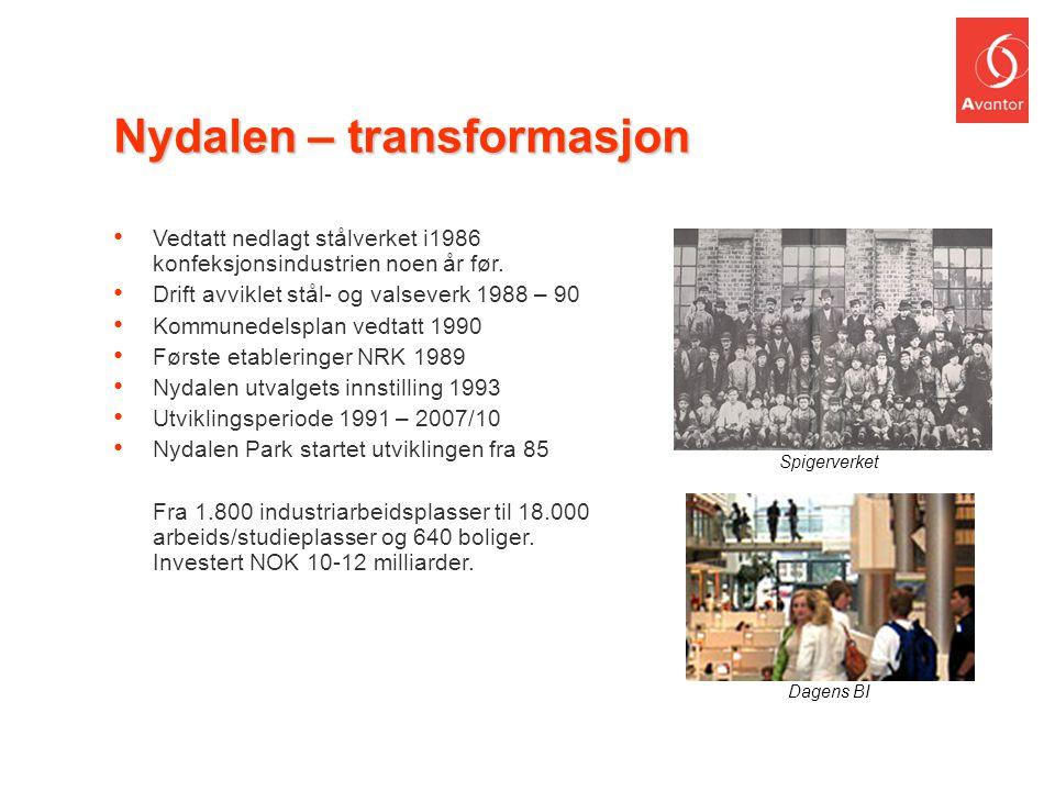 Nydalen – transformasjon • Vedtatt nedlagt stålverket i1986 konfeksjonsindustrien noen år før. • Drift avviklet stål- og valseverk 1988 – 90 • Kommune