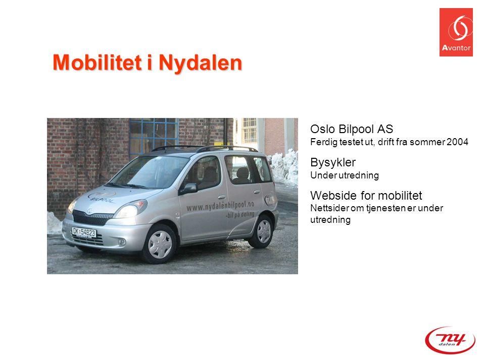 Oslo Bilpool AS Ferdig testet ut, drift fra sommer 2004 Bysykler Under utredning Webside for mobilitet Nettsider om tjenesten er under utredning Mobil