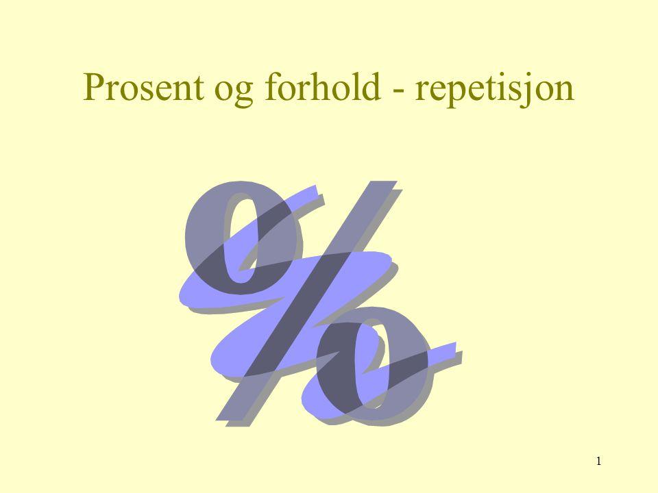 1 Prosent og forhold - repetisjon