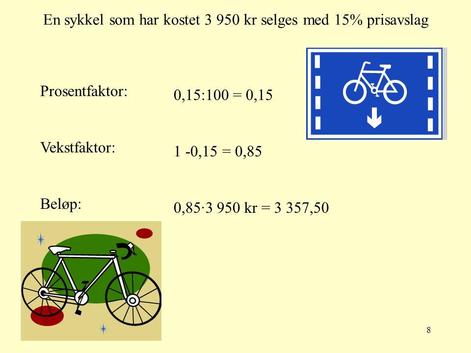 7 Et tre som er 1,80 m høyt vokser 7,5% Prosentfaktor: Vekstfaktor: Beløp: 7,5:100 = 0,075 1 + 0,075 = 1,075 1,075·1,80m = 1,935 m  1,94m