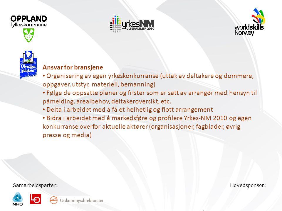 Samarbeidsparter:Hovedsponsor: Ansvar for bransjene • Organisering av egen yrkeskonkurranse (uttak av deltakere og dommere, oppgaver, utstyr, materiel