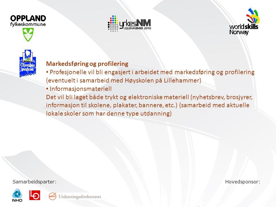 Samarbeidsparter:Hovedsponsor: Markedsføring og profilering • Profesjonelle vil bli engasjert i arbeidet med markedsføring og profilering (eventuelt i