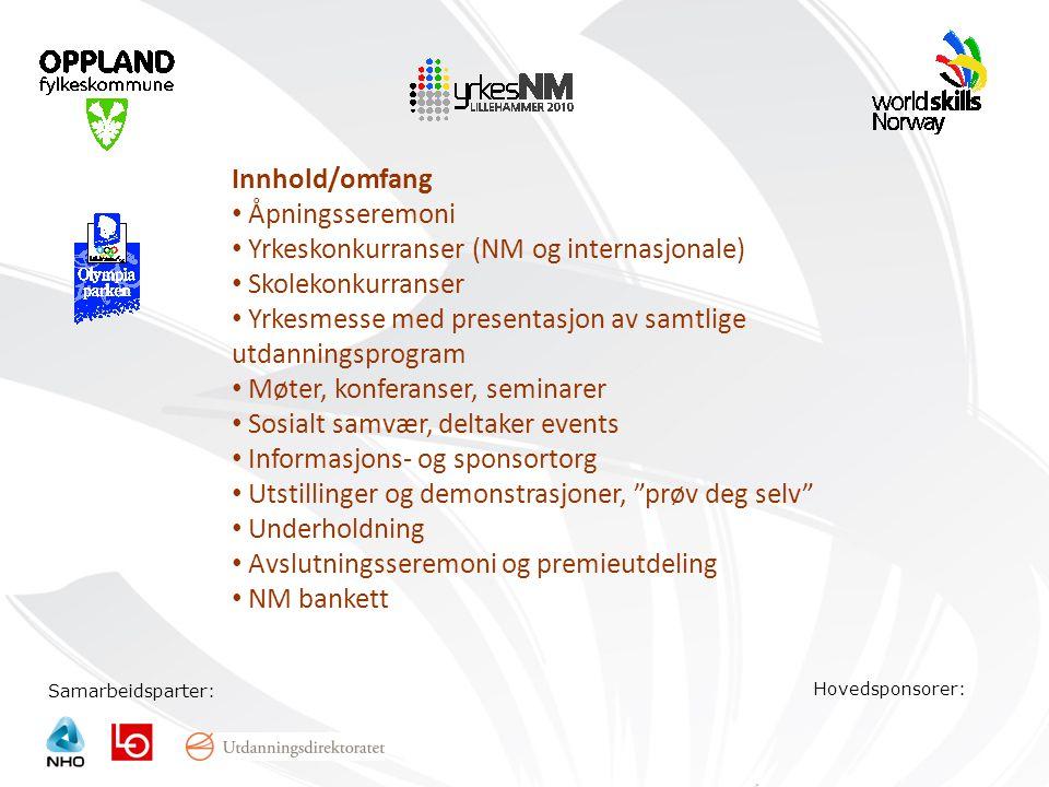 Samarbeidsparter: Hovedsponsorer: Innhold/omfang • Åpningsseremoni • Yrkeskonkurranser (NM og internasjonale) • Skolekonkurranser • Yrkesmesse med pre