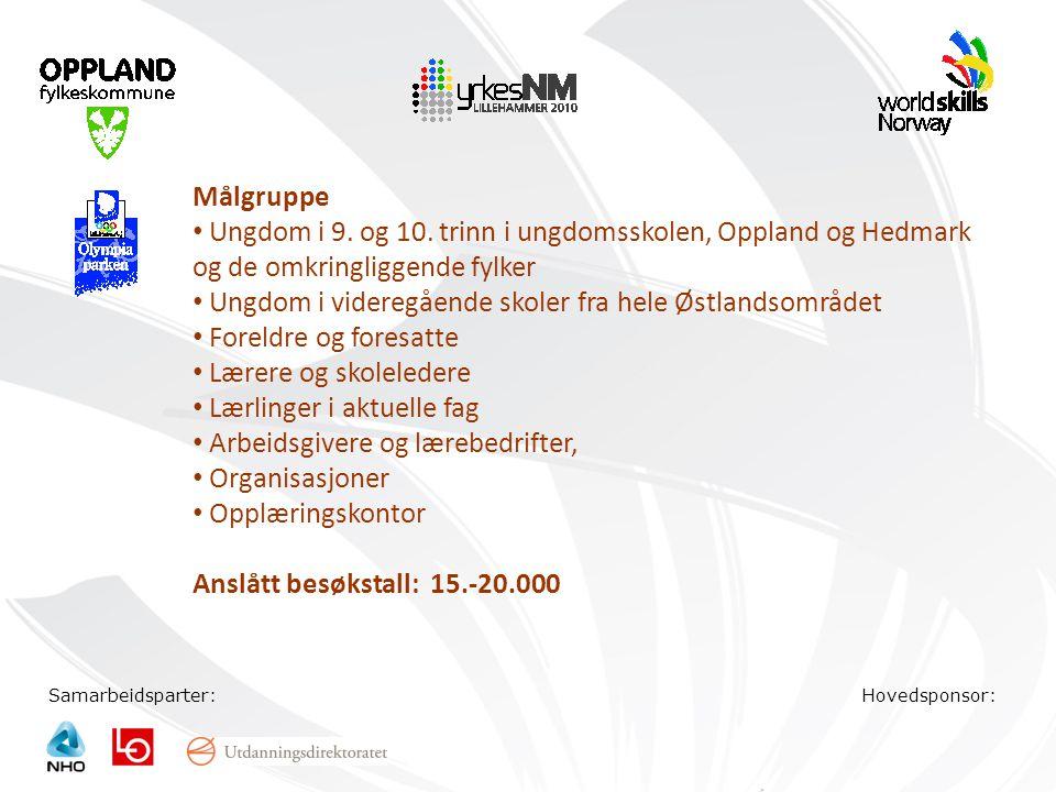 Samarbeidsparter:Hovedsponsor: Målgruppe • Ungdom i 9. og 10. trinn i ungdomsskolen, Oppland og Hedmark og de omkringliggende fylker • Ungdom i videre