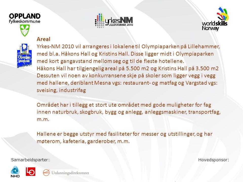 Samarbeidsparter:Hovedsponsor: Areal Yrkes-NM 2010 vil arrangeres i lokalene til Olympiaparken på Lillehammer, med bl.a. Håkons Hall og Kristins Hall.