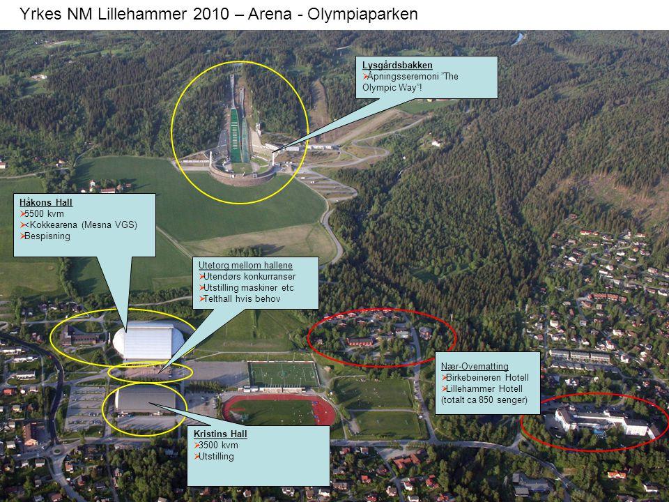 """Yrkes NM Lillehammer 2010 – Arena - Olympiaparken Håkons Hall  5500 kvm  <Kokkearena (Mesna VGS)  Bespisning Lysgårdsbakken  Åpningsseremoni """"The"""