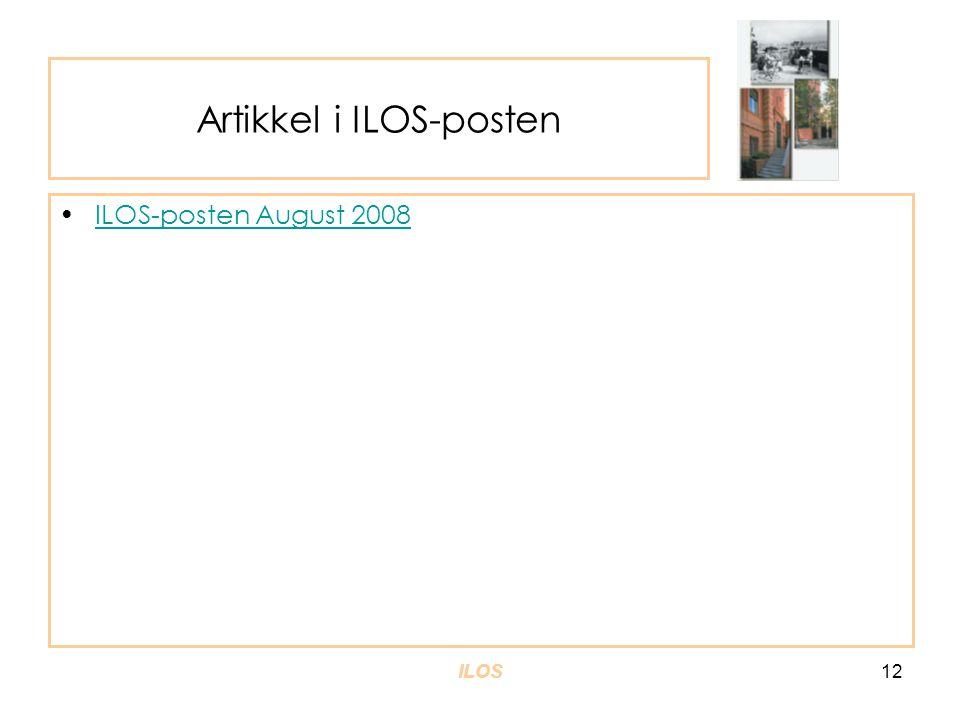 Artikkel i ILOS-posten •ILOS-posten August 2008ILOS-posten August 2008 ILOS12