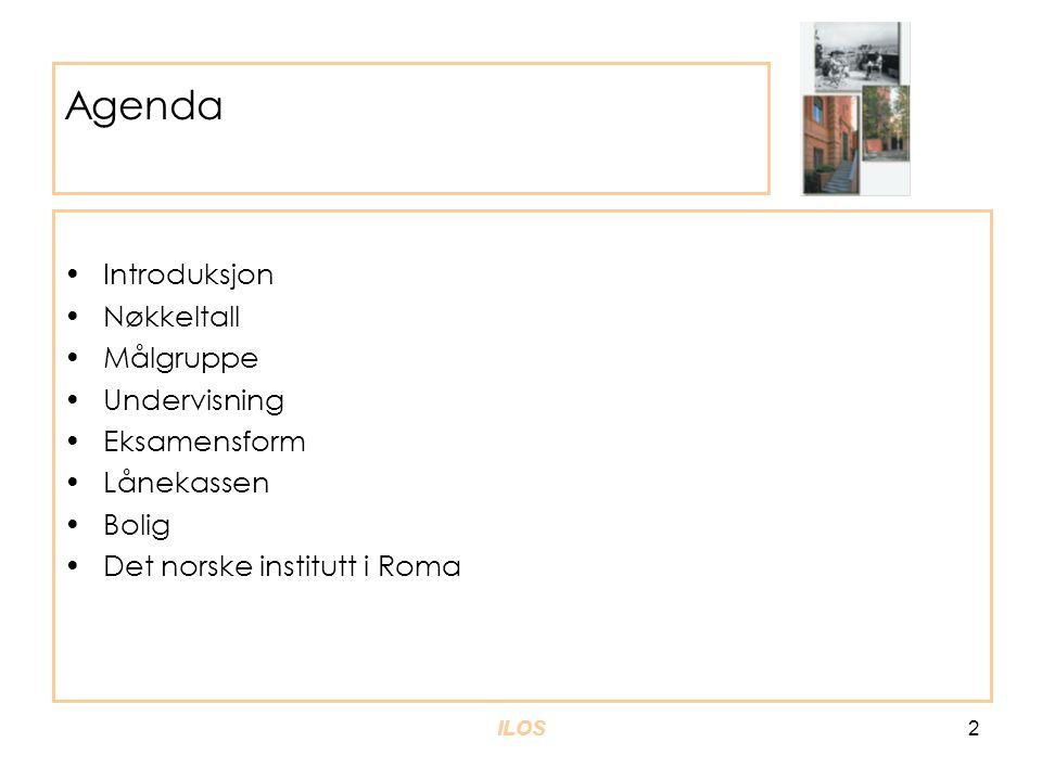 ILOS3 Sommerkurset er et samarbeid mellom ILOS og DNIR •Institutt for litteratur, områdestuder og europeiske språk og Det norske institutt i Roma samarbeider om organiseringen av kurset •All undervisning vil finne sted i Roma •Avsluttende eksamen finner sted i Oslo (kvalifiserende prøve i Roma) •ILOS har fagansvar for kurset •DNIR har ansvar for praktisk tilrettelegging av undervisning