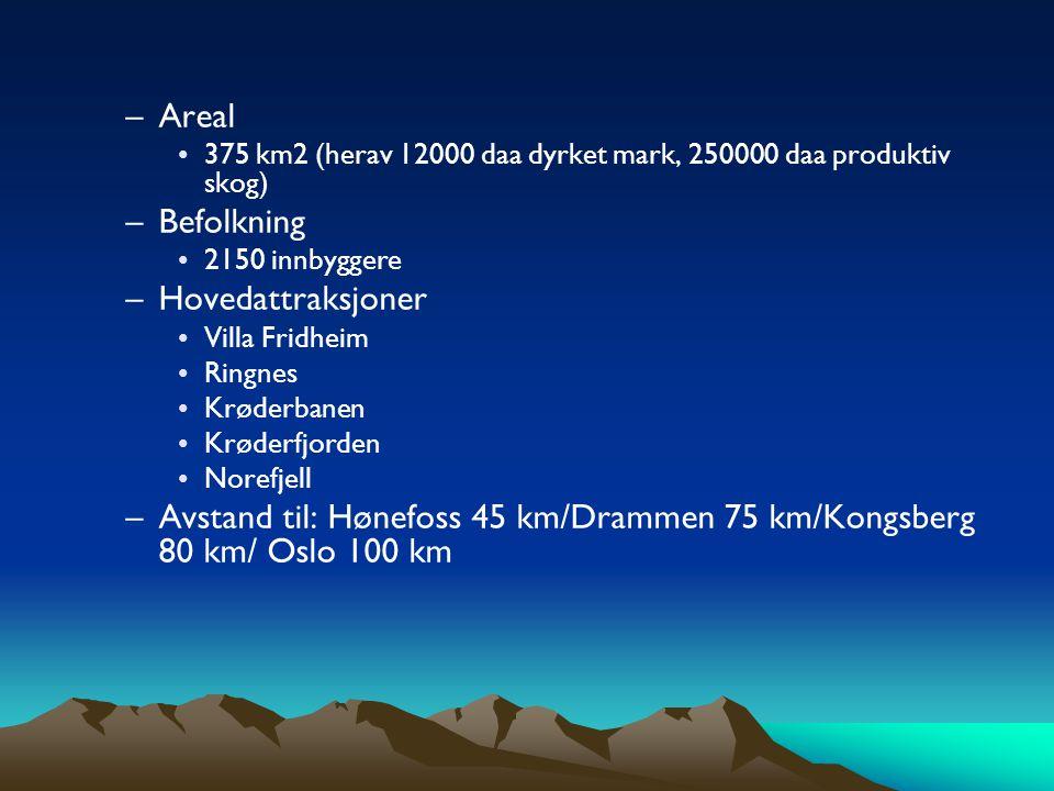 –Areal •375 km2 (herav 12000 daa dyrket mark, 250000 daa produktiv skog) –Befolkning •2150 innbyggere –Hovedattraksjoner •Villa Fridheim •Ringnes •Krøderbanen •Krøderfjorden •Norefjell –Avstand til: Hønefoss 45 km/Drammen 75 km/Kongsberg 80 km/ Oslo 100 km