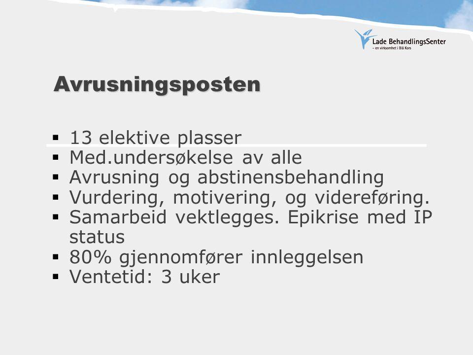 Avrusningsposten Avrusningsposten  13 elektive plasser  Med.undersøkelse av alle  Avrusning og abstinensbehandling  Vurdering, motivering, og videreføring.