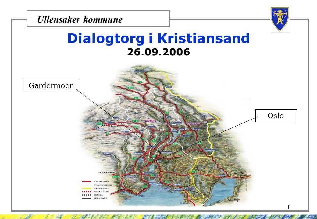 Ullensaker kommune 1 Dialogtorg i Kristiansand 26.09.2006 Gardermoen Oslo