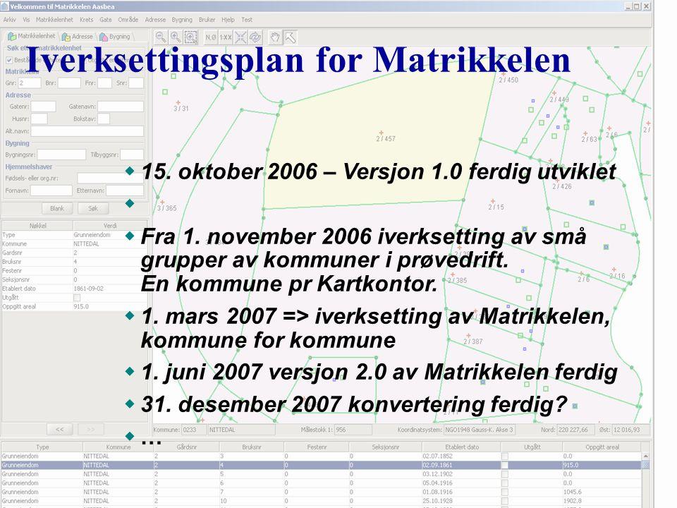 Iverksettingsplan for Matrikkelen w15. oktober 2006 – Versjon 1.0 ferdig utviklet w wFra 1.