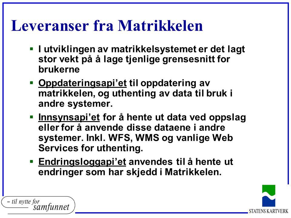Leveranser fra Matrikkelen  I utviklingen av matrikkelsystemet er det lagt stor vekt på å lage tjenlige grensesnitt for brukerne  Oppdateringsapi'et til oppdatering av matrikkelen, og uthenting av data til bruk i andre systemer.