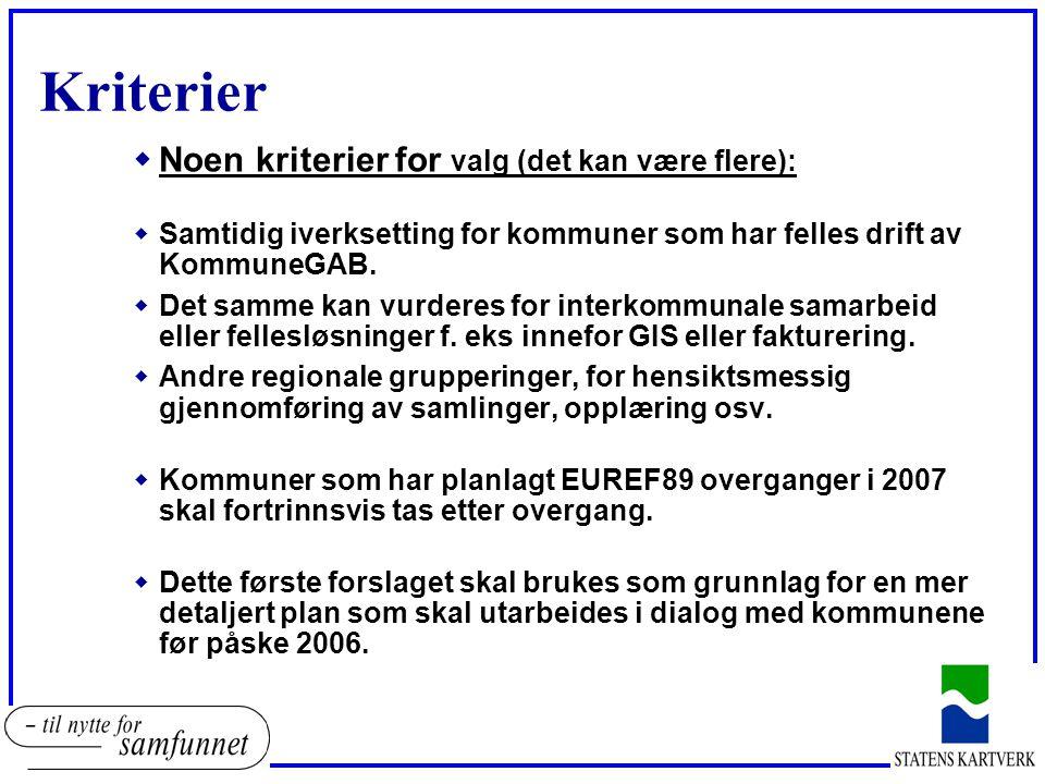 Kriterier wNoen kriterier for valg (det kan være flere): wSamtidig iverksetting for kommuner som har felles drift av KommuneGAB.