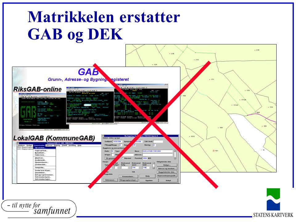 Matrikkelen erstatter GAB og DEK