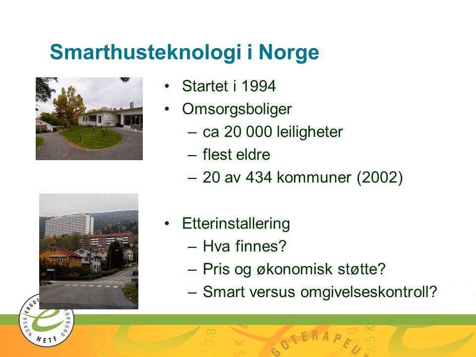 Smarthusteknologi i Norge •Startet i 1994 •Omsorgsboliger –ca 20 000 leiligheter –flest eldre –20 av 434 kommuner (2002) •Etterinstallering –Hva finnes.