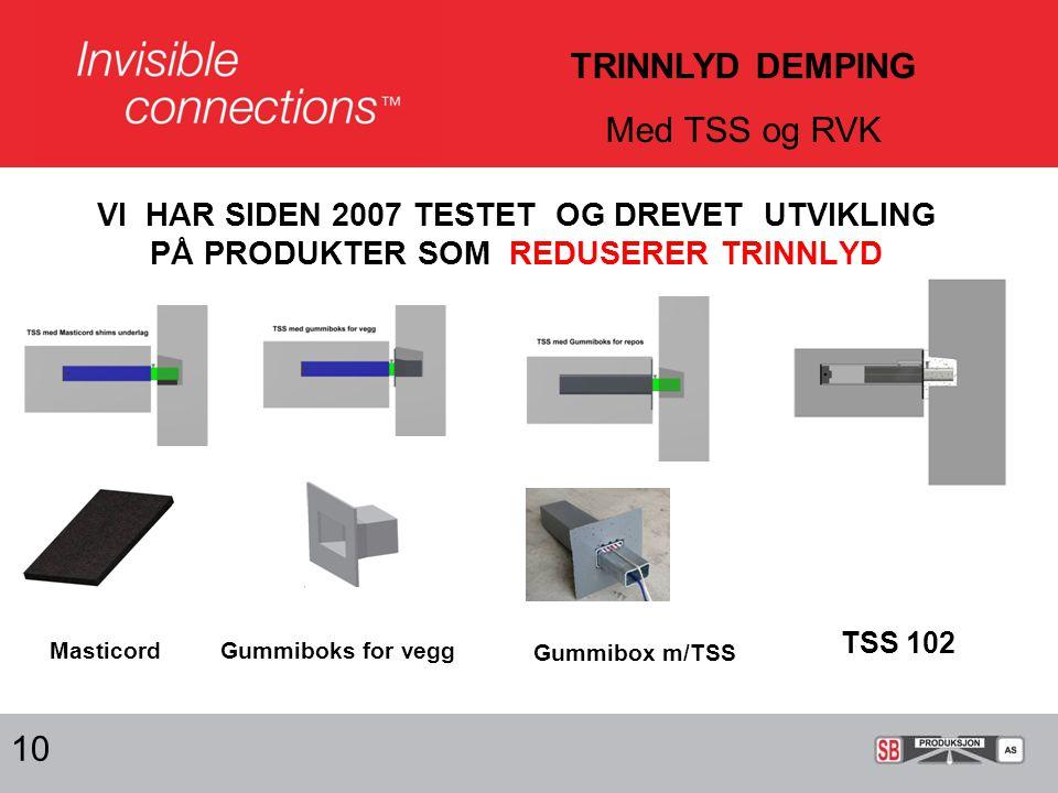 VI HAR SIDEN 2007 TESTET OG DREVET UTVIKLING PÅ PRODUKTER SOM REDUSERER TRINNLYD 10 TRINNLYD DEMPING Med TSS og RVK MasticordGummiboks for vegg Gummibox m/TSS TSS 102