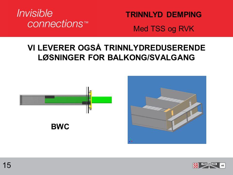 VI LEVERER OGSÅ TRINNLYDREDUSERENDE LØSNINGER FOR BALKONG/SVALGANG 15 BWC TRINNLYD DEMPING Med TSS og RVK