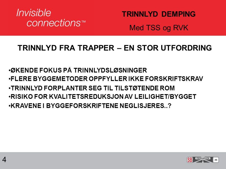 TRINNLYD FRA TRAPPER – EN STOR UTFORDRING 4 TRINNLYD DEMPING Med TSS og RVK •ØKENDE FOKUS PÅ TRINNLYDSLØSNINGER •FLERE BYGGEMETODER OPPFYLLER IKKE FORSKRIFTSKRAV •TRINNLYD FORPLANTER SEG TIL TILSTØTENDE ROM •RISIKO FOR KVALITETSREDUKSJON AV LEILIGHET/BYGGET •KRAVENE I BYGGEFORSKRIFTENE NEGLISJERES..?