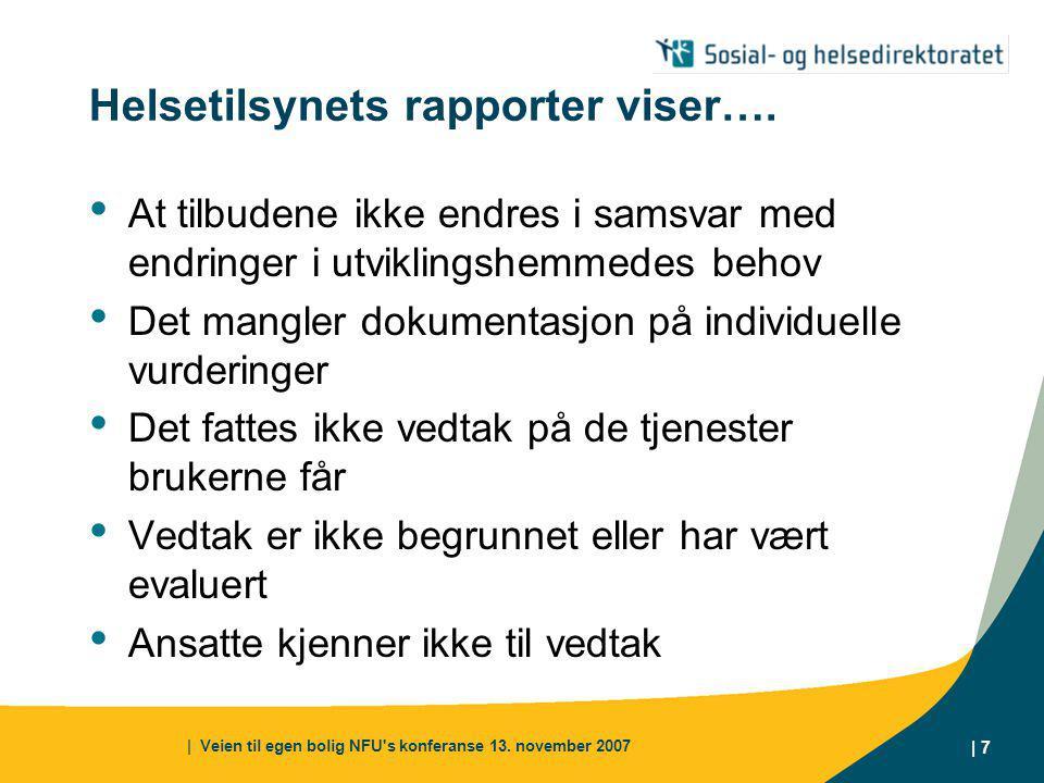 | Veien til egen bolig NFU s konferanse 13. november 2007 | 7 Helsetilsynets rapporter viser….