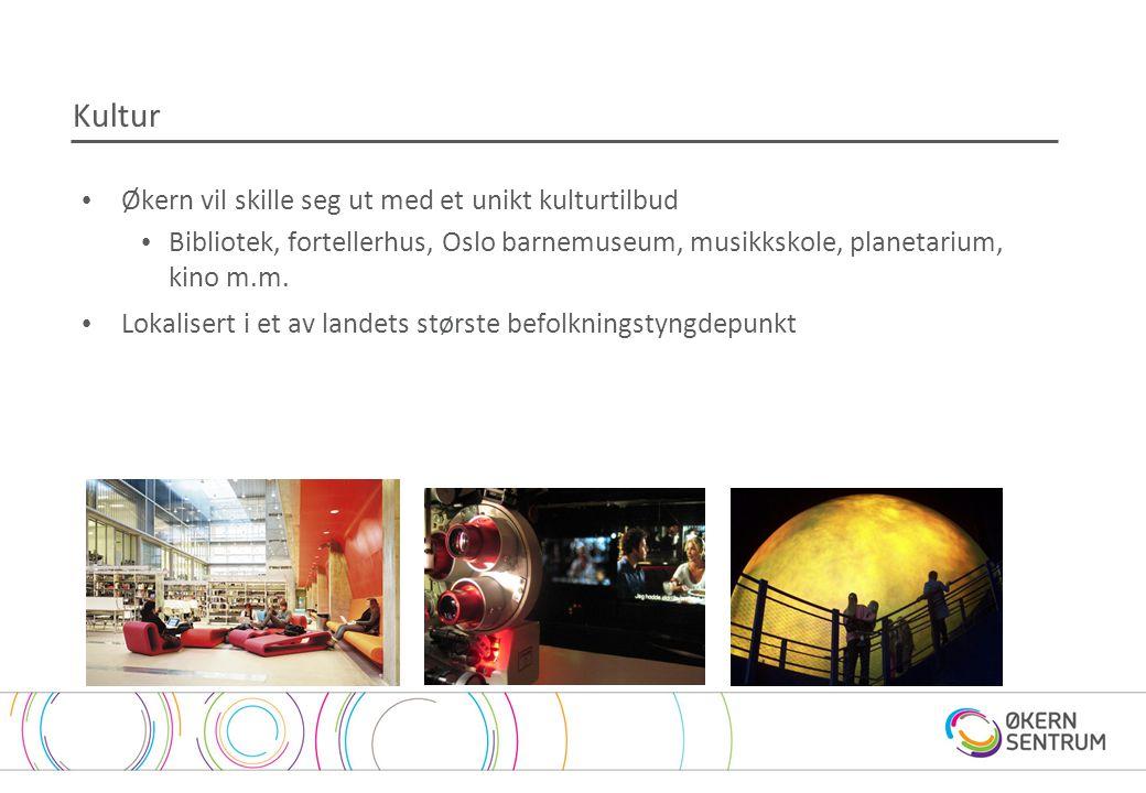 Kultur • Økern vil skille seg ut med et unikt kulturtilbud • Bibliotek, fortellerhus, Oslo barnemuseum, musikkskole, planetarium, kino m.m. • Lokalise