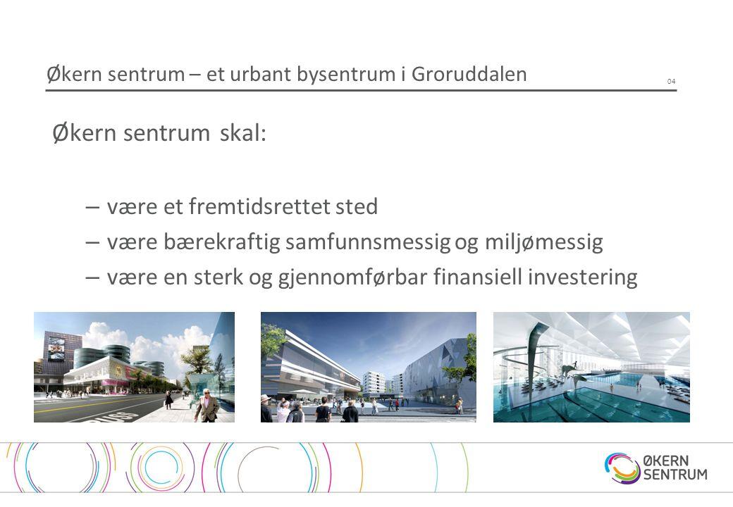 Økern sentrum – et urbant bysentrum i Groruddalen Økern sentrum skal: –være et fremtidsrettet sted –være bærekraftig samfunnsmessig og miljømessig –væ