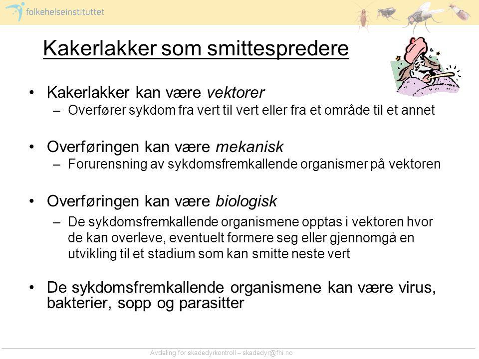 Avdeling for skadedyrkontroll – skadedyr@fhi.no Kakerlakker som smittespredere •Kakerlakker kan være vektorer –Overfører sykdom fra vert til vert elle
