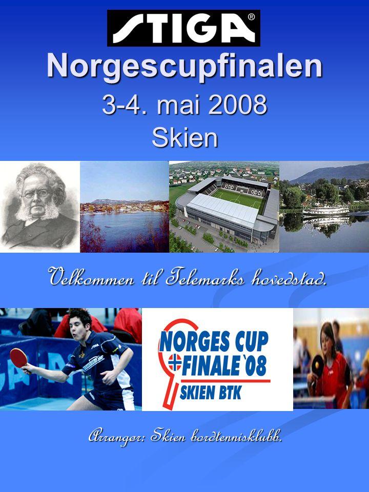 Norgescupfinalen 3-4. mai 2008 Skien Velkommen til Telemarks hovedstad. Arrangør: Skien bordtennisklubb.