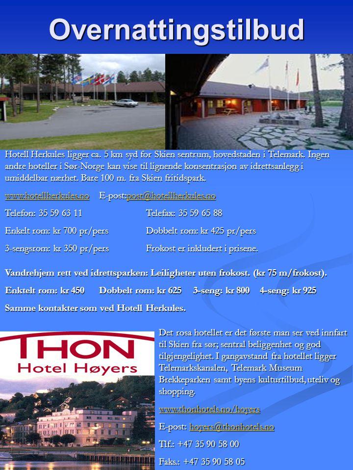 Overnattingstilbud Hotell Herkules ligger ca. 5 km syd for Skien sentrum, hovedstaden i Telemark. Ingen andre hoteller i Sør-Norge kan vise til lignen
