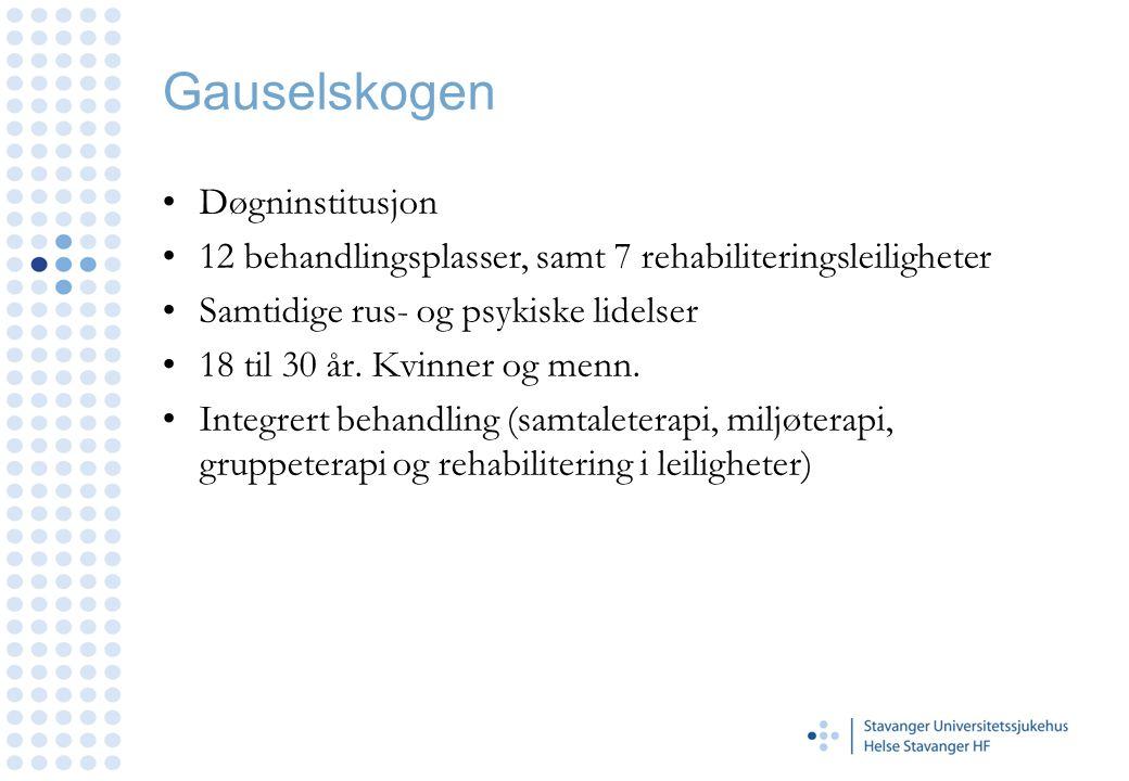 Gauselskogen •Døgninstitusjon •12 behandlingsplasser, samt 7 rehabiliteringsleiligheter •Samtidige rus- og psykiske lidelser •18 til 30 år. Kvinner og