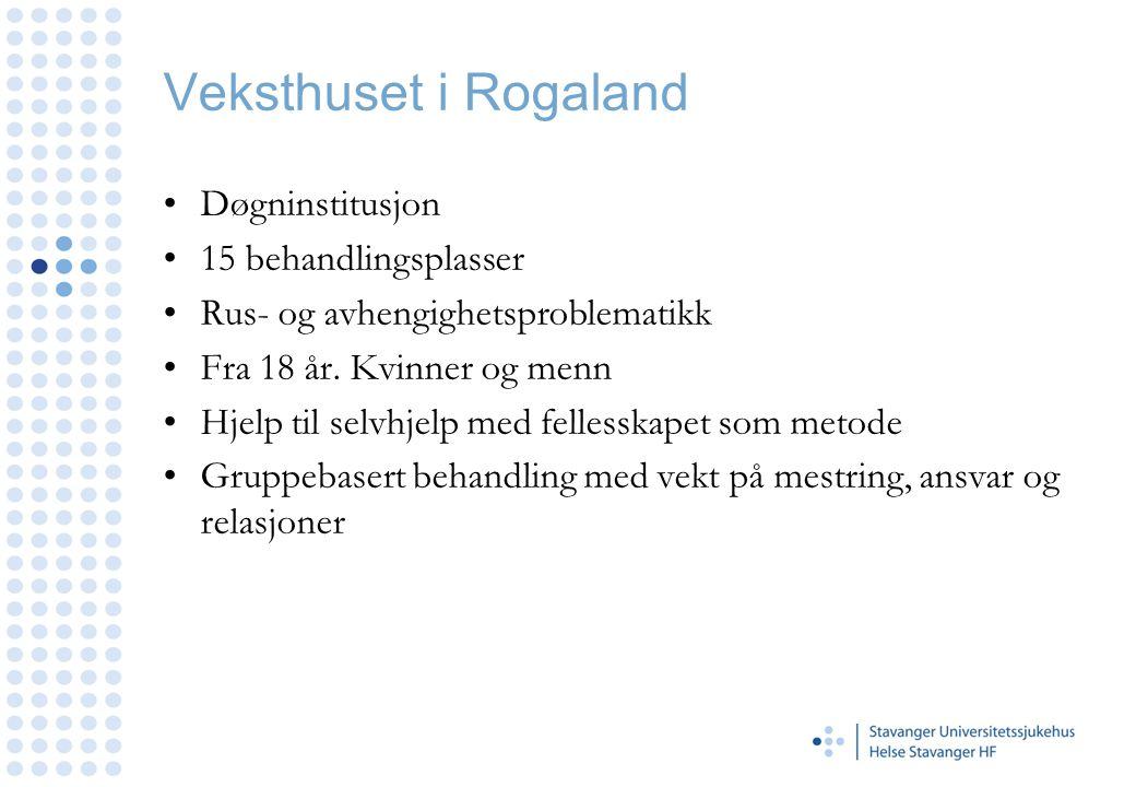 Veksthuset i Rogaland •Døgninstitusjon •15 behandlingsplasser •Rus- og avhengighetsproblematikk •Fra 18 år. Kvinner og menn •Hjelp til selvhjelp med f