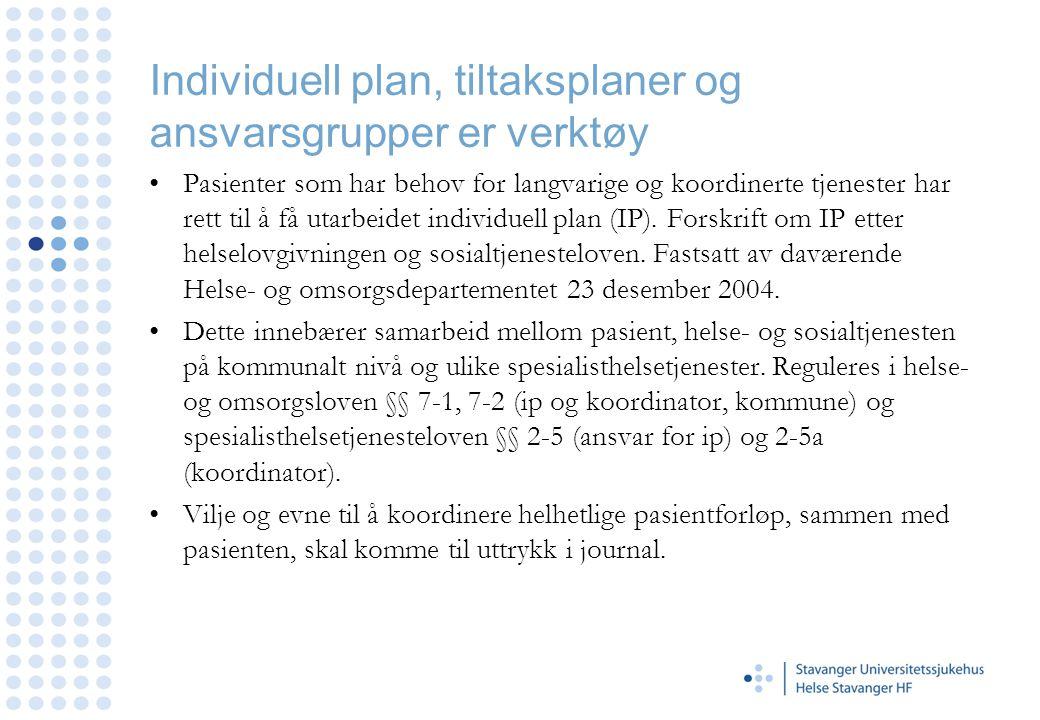 Individuell plan, tiltaksplaner og ansvarsgrupper er verktøy •Pasienter som har behov for langvarige og koordinerte tjenester har rett til å få utarbe