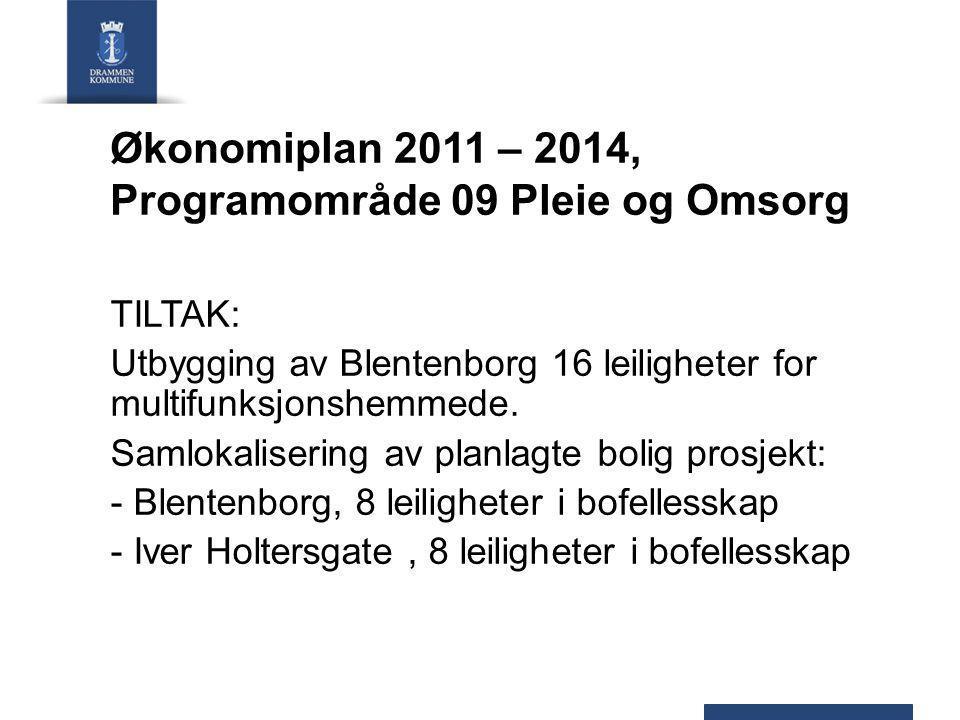 Økonomiplan 2011 – 2014, Programområde 09 Pleie og Omsorg TILTAK: Utbygging av Blentenborg 16 leiligheter for multifunksjonshemmede.
