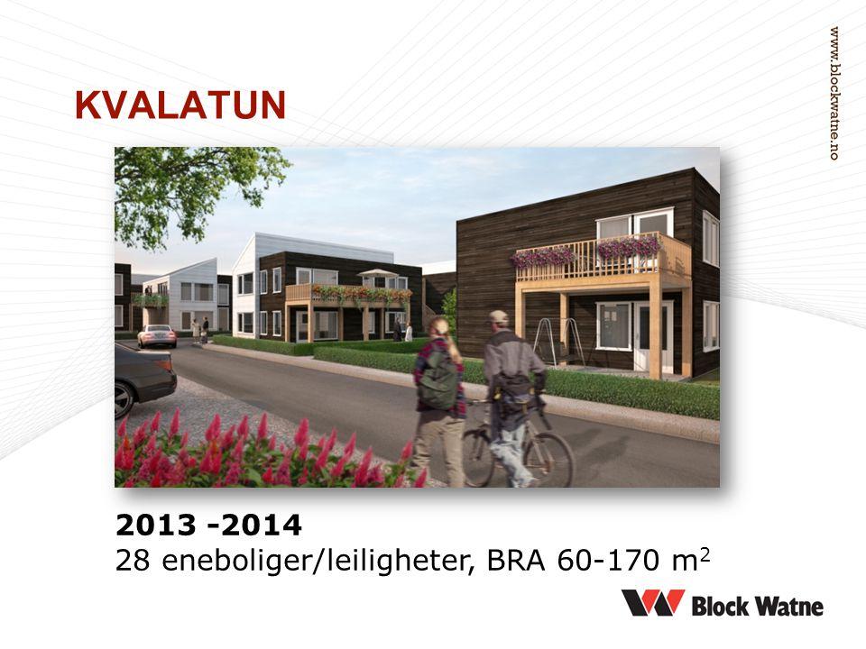 2013 -2014 28 eneboliger/leiligheter, BRA 60-170 m 2