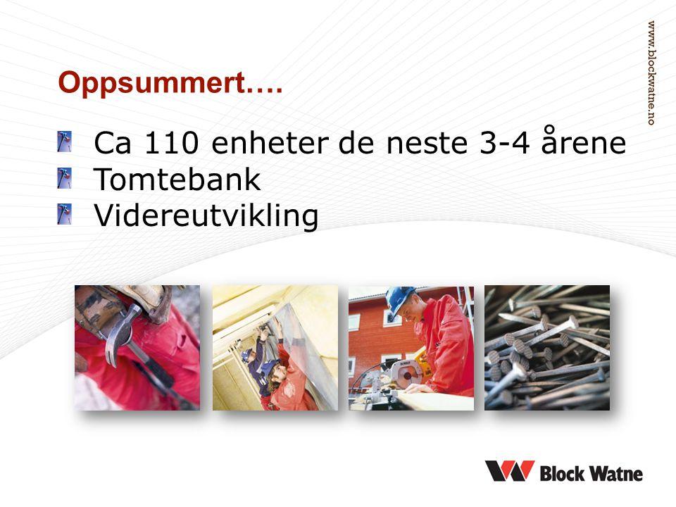 Ca 110 enheter de neste 3-4 årene Tomtebank Videreutvikling Oppsummert….
