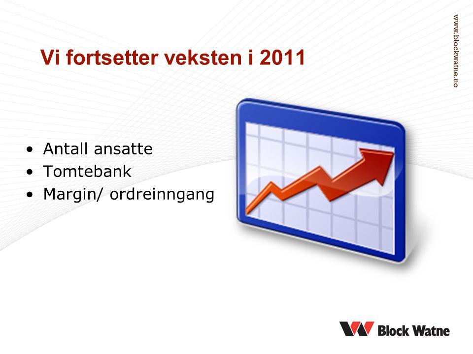 Vi fortsetter veksten i 2011 •Antall ansatte •Tomtebank •Margin/ ordreinngang