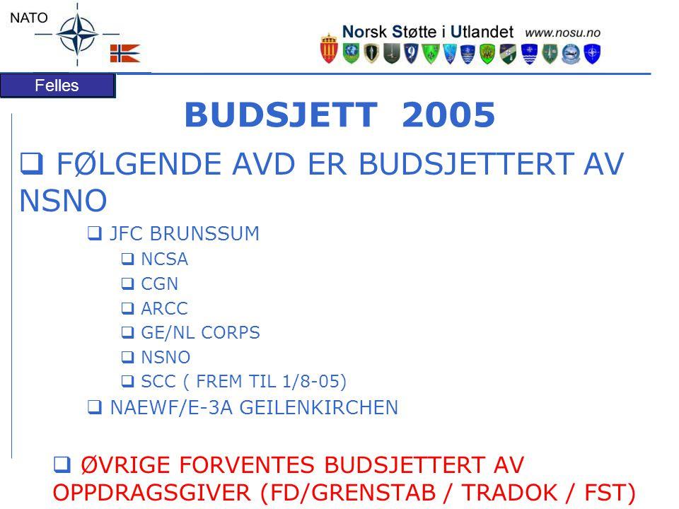 Felles BUDSJETT 2005  FØLGENDE AVD ER BUDSJETTERT AV NSNO  JFC BRUNSSUM  NCSA  CGN  ARCC  GE/NL CORPS  NSNO  SCC ( FREM TIL 1/8-05)  NAEWF/E-3A GEILENKIRCHEN  ØVRIGE FORVENTES BUDSJETTERT AV OPPDRAGSGIVER (FD/GRENSTAB / TRADOK / FST)