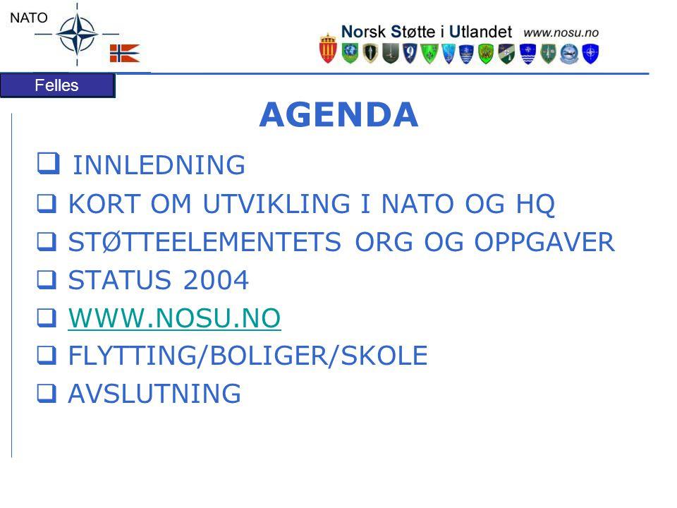 Felles AGENDA  INNLEDNING  KORT OM UTVIKLING I NATO OG HQ  STØTTEELEMENTETS ORG OG OPPGAVER  STATUS 2004  WWW.NOSU.NOWWW.NOSU.NO  FLYTTING/BOLIGER/SKOLE  AVSLUTNING