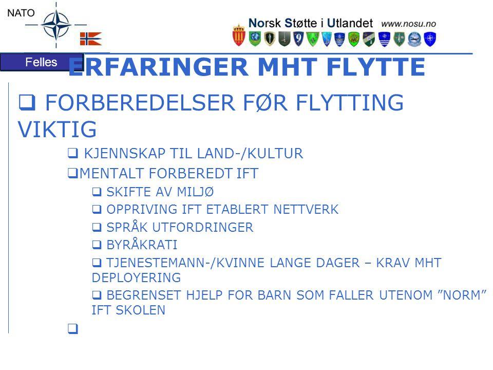 Felles ERFARINGER MHT FLYTTE  FORBEREDELSER FØR FLYTTING VIKTIG  KJENNSKAP TIL LAND-/KULTUR  MENTALT FORBEREDT IFT  SKIFTE AV MILJØ  OPPRIVING IFT ETABLERT NETTVERK  SPRÅK UTFORDRINGER  BYRÅKRATI  TJENESTEMANN-/KVINNE LANGE DAGER – KRAV MHT DEPLOYERING  BEGRENSET HJELP FOR BARN SOM FALLER UTENOM NORM IFT SKOLEN 