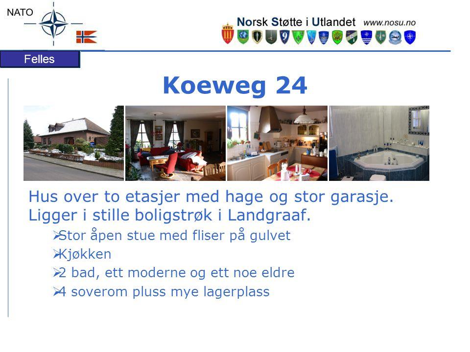 Felles Koeweg 24 Hus over to etasjer med hage og stor garasje.