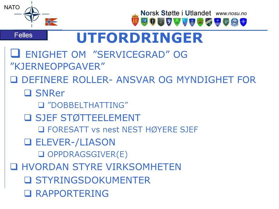 Felles UTFORDRINGER  ENIGHET OM SERVICEGRAD OG KJERNEOPPGAVER  DEFINERE ROLLER- ANSVAR OG MYNDIGHET FOR  SNRer  DOBBELTHATTING  SJEF STØTTEELEMENT  FORESATT vs nest NEST HØYERE SJEF  ELEVER-/LIASON  OPPDRAGSGIVER(E)  HVORDAN STYRE VIRKSOMHETEN  STYRINGSDOKUMENTER  RAPPORTERING