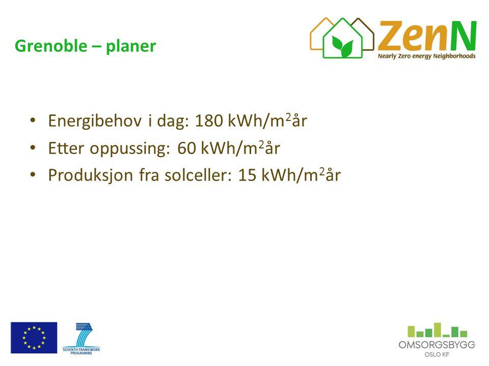 Grenoble – planer • Energibehov i dag: 180 kWh/m 2 år • Etter oppussing: 60 kWh/m 2 år • Produksjon fra solceller: 15 kWh/m 2 år