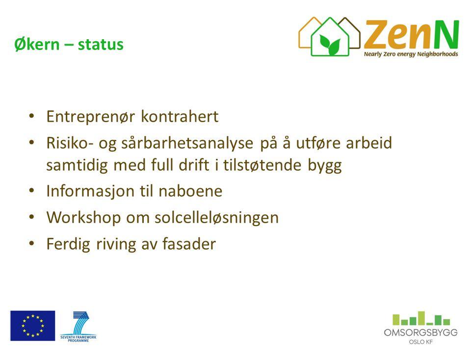 Økern – status • Entreprenør kontrahert • Risiko- og sårbarhetsanalyse på å utføre arbeid samtidig med full drift i tilstøtende bygg • Informasjon til naboene • Workshop om solcelleløsningen • Ferdig riving av fasader