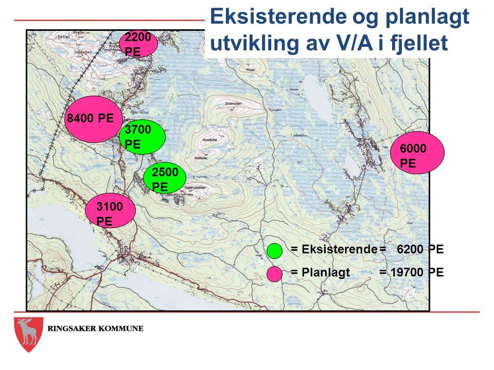 = Eksisterende = Planlagt 6000 PE 3100 PE 2200 PE 2500 PE 8400 PE 3700 PE Eksisterende og planlagt utvikling av V/A i fjellet = 6200 PE = 19700 PE