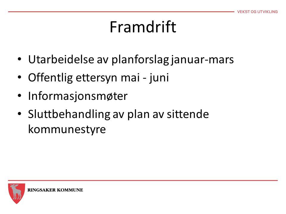 Framdrift • Utarbeidelse av planforslag januar-mars • Offentlig ettersyn mai - juni • Informasjonsmøter • Sluttbehandling av plan av sittende kommunes