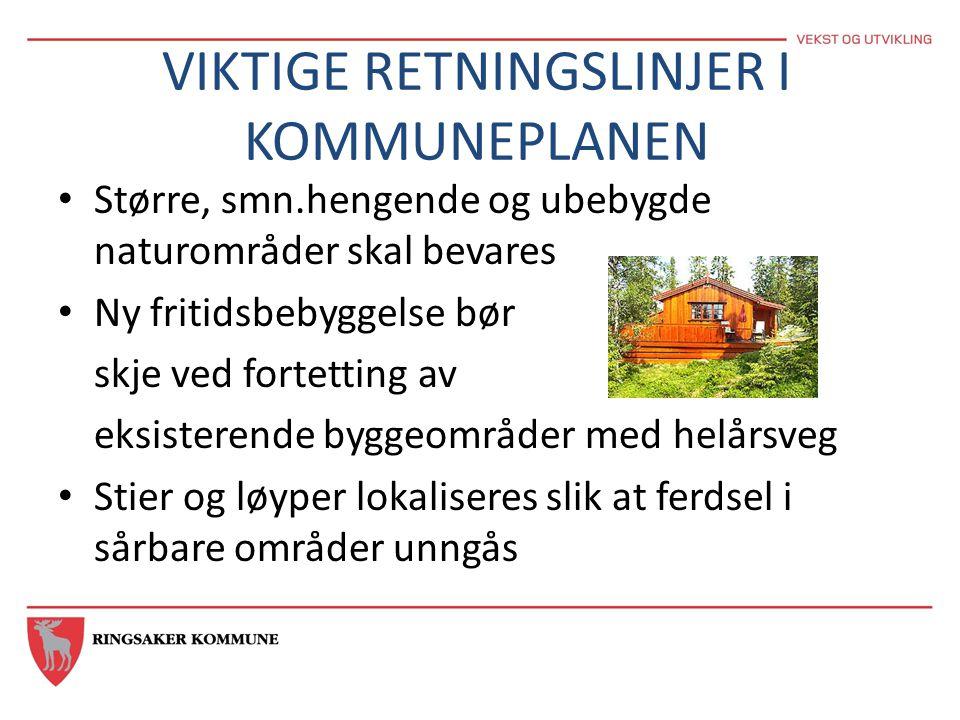 VIKTIGE RETNINGSLINJER I KOMMUNEPLANEN • Større, smn.hengende og ubebygde naturområder skal bevares • Ny fritidsbebyggelse bør skje ved fortetting av